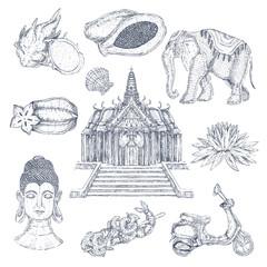 Thai Drawn Elements Set