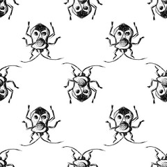 Hand drawn Sketch Beetles Seamless Pattern