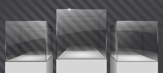 Showcase of glass in the form of a cube on the podium. Exposition of jewelry. Vector graphics with the effect of transparency. Retail store equipment