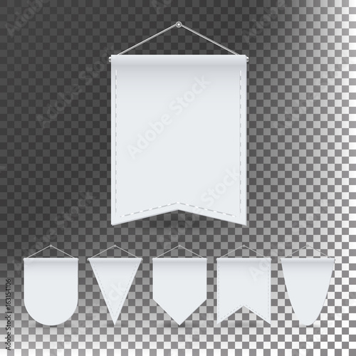 white pennant template set vector empty 3d pennants banners blank