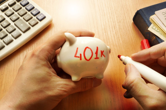 Piggy bank with word 401k. Retirement plan concept.