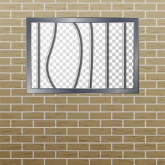 Prison Window With Bars And Brick Wall. Vector Pokey Concept. Prison Grid Isolated.