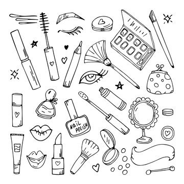 Maquillage vector. set hand drawing