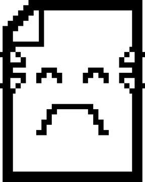 Crying 8-Bit Cartoon Paper