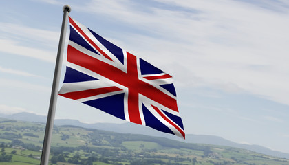 British UK Flag Over fields of green and cloud and blue sky in the background