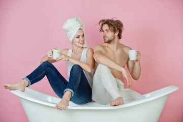 couple in love of man and woman on bathtub