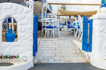 White and blue colors of traditional Greek tavern. Crete Island, Greece