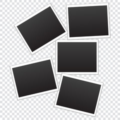 Set of frames for photos on a transparent background. Vector illustration.