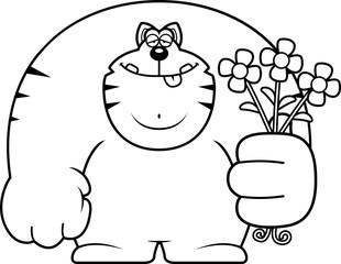 Cartoon Cat Flowers