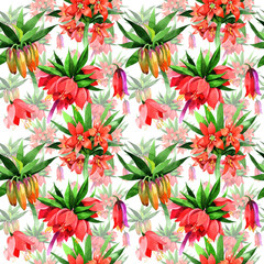 Wildflower Fritillaria imperialis flower pattern in a watercolor style. Full name of the plant: Fritillaria imperialis Aquarelle wild flower for background, texture, wrapper pattern, frame or border.