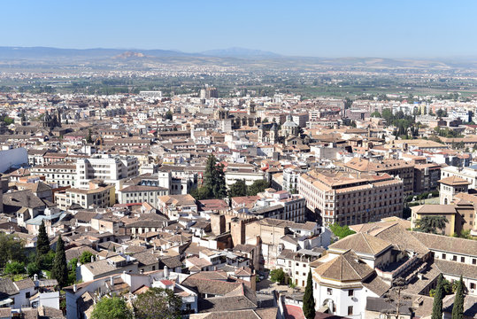 Granada City aerial view viewpoint overview taken from Alhambra Palace, Spain