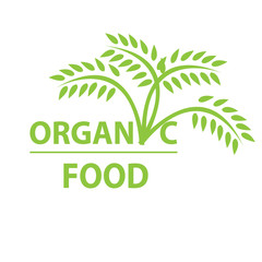 Organic food label. Green leaves. Vector illustration.