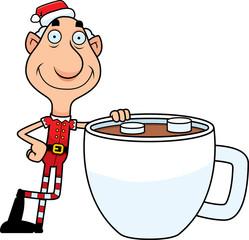 Cartoon Christmas Elf Hot Chocolate
