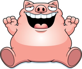 Cartoon Fat Pig Sitting