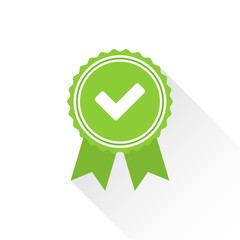 Green approved or certified medal icon in a flat design with shadow