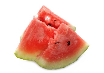 Fresh watermelon slices isolated on white background