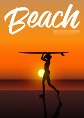 Side view silhouette of beautiful sexy surfer girl in bikini holding surfboard above her head on the beach at sunset. Sunset beach landscape. Beach holiday poster. Vector Illustration