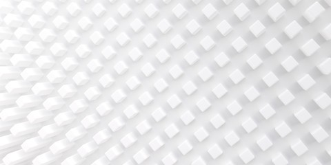 Abstract background of three-dimensional geometrical shapes. White texture with soft shadows.