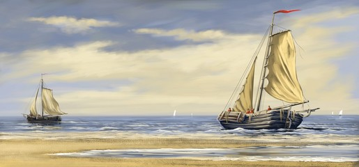 Sea landscape, boats and ships, background, oil paintings, digital art