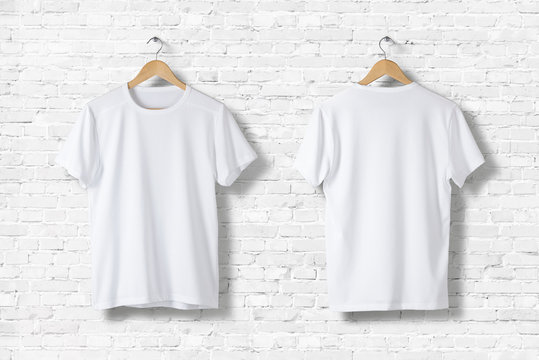 Blank White T-Shirt Mock-up on wooden hanger, front and rear side view. High resolution.