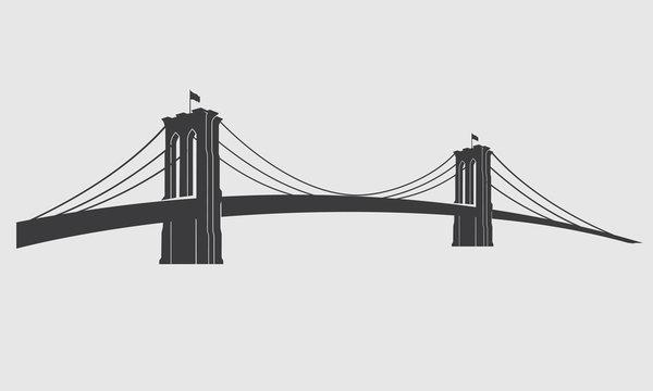 Brooklyn_grey3. New York symbol - Brooklyn Bridge - vector illustration
