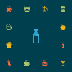 Set Of 13 Beverages Icons Set.Collection Of Wine, Cup, Cream And Other Elements.