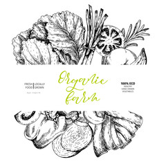 Vector hand drawn farm vegetables. Round border composition. Tomato, onion, cabbage, pepper, leek. Engraved art. Organic sketched vegetarian objects.