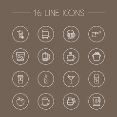 Set Of 16 Drinks Outline Icons Set.Collection Of Coconut, Coffee, Bottle And Other Elements.