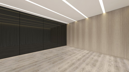 Modern Empty Room, 3d render interior design, mock up illustration