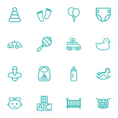 Set Of 16 Child Outline Icons Set.Collection Of Drum, Diaper, Crib And Other Elements.