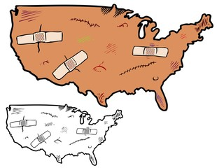 The United States with bruises and scrapes
