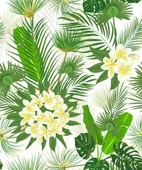 Seamless hand drawn tropical pattern with palm leaves, jungle exotic leaf on white background