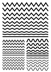 Vector big set of seamless wavy - curvy and zigzag - criss cross horizontal lines. Graphic design elements variation zigzag and wave line borders.
