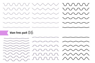Vector big set of wavy - curvy and zigzag - criss cross horizontal lines with different bend. Graphic design elements variation dotted line and solid line.