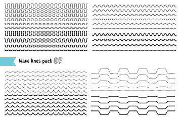 Vector collection of different wave with a very strong vibration amplitude and different line thicknesses. Big set of wavy - curvy and zigzag - criss cross horizontal lines.