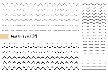 Vector big set of graphic design elements variation wide wavy line. Wavy - curvy and zigzag - criss cross horizontal lines.