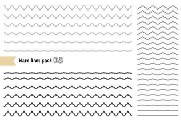 Vector big set of graphic design elements variation wide wavy line. Wavy - curvy and zigzag - criss cross horizontal lines.