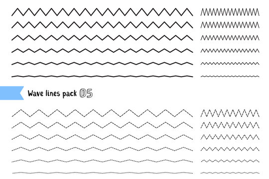 Vector collection of different thin line wide and narrow wavy line on white background. Big set of wavy - curvy and zigzag - criss cross horizontal lines.