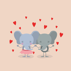 color background with couple of elephants holding hands in love vector illustration