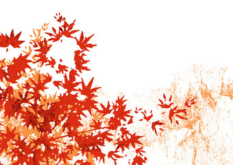 grunge style maple leaves background - autumn season vector design