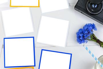 Blank polaroids frame mock up on white background