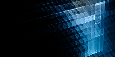 Abstract background. Fractal graphics series. Three-dimensional composition of textured grids. Wide format high resolution image. Blue and black colors.