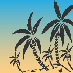 Palm trees silhouette on island. Vector illustration.Tropical exotic plant isolated on background. Modern hipster style apparel, poster, brochure design.