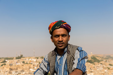 Portrait of a young Indian man in Jaisalmer, Rajasthan, India