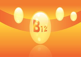 Vitamin B12 shining pill capcule icon . Vitamin complex with Chemical formula, group B, Cyanocobalamin, hydroxocobalamin. Vector illustration