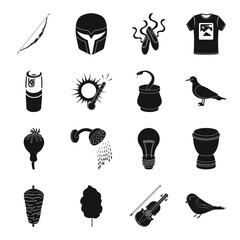 theater, weapons, printing, weather, Emirates and other web icon in black style. drug, addiction, lighting, food, Movies, music icons in set collection.