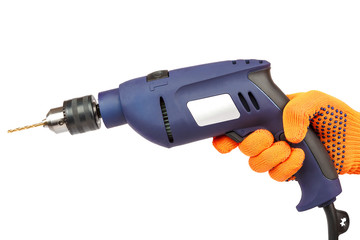 Hammer drill or screwdriver in hand on white