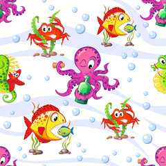 Seamless marine pattern with octopus, starfish, seahorse, crab and fish