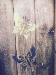 Türaufkleber Schmetterlinge im Grunge Butterfly