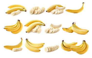 Sweet bananas isolated on a white background
